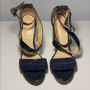 M.Gemi Blue Blocked Heel Sandal